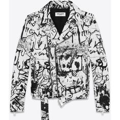 Saint Laurent Special Project Classic Motorcycle Jacket ($2,395) ❤ liked on Polyvore featuring outerwear, jackets, coats & jackets, belted jacket, leather biker jacket, white jacket, rider leather jacket and leather moto jacket
