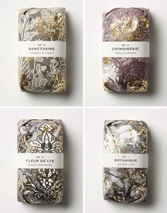 How pretty is this soap packaging? Each six ounce bar of Fringe Alchemy Soap is packaged in gilded cloud-hued floral paper and encases lush. Food Packaging Design, Packaging Design Inspiration, Branding Design, Packaging Ideas, Logo Branding, Cosmetic Packaging, Beauty Packaging, Luxury Packaging, Chinoiserie