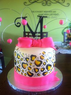 Painted Leopard Print 16th Birthday cake!