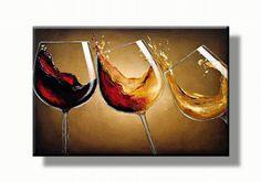 Moderne kunst | wijn glazen schilderij - wijnglazen