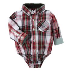 Red Christmas Plaid Shirtzie for baby boys by Andy & Evan.