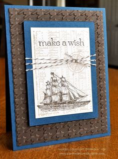 Stampin' Up! Masculine Card: The Open Sea CASE Card Creations by Beth, houndstooth EF. Masculine Birthday Cards, Birthday Cards For Men, Masculine Cards, Male Birthday, Boy Cards, Cute Cards, Men's Cards, Craft Cards, Scrapbooking