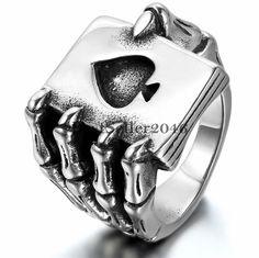 Schmuck Herren-Ring Edelstahl Gotik Schädel Klaue Poker Karte Schwarz Silber