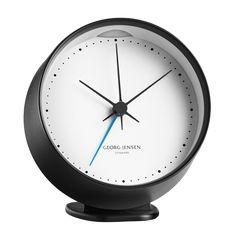 HK CLOCK w. alarm, black-white, 10 cm