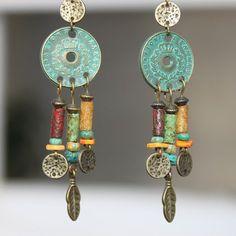Boho Earrings Bohemian Earrings Boho jewelry Bohemian Jewelry Chandelier Earrings Gypsy Ethnic Earrings Turquoise Brass Gift for women by NtikArtJewelry on Etsy https://www.etsy.com/listing/493339075/boho-earrings-bohemian-earrings-boho