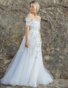 This off the shoulder tulle wedding gown is something out of wedding dreams! Wedding Dress Trends, New Wedding Dresses, Bridal Dresses, Tulle Wedding, Spring Wedding, Wedding Blog, Wedding Bouquets, Ethereal Wedding Dress, Most Beautiful Wedding Dresses