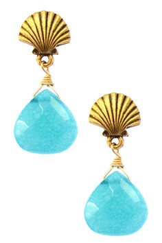 Turquoise Teardrop Shell Earrings