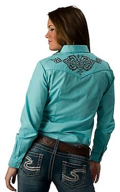 Roper® Women's Turquoise with Brown Embroidery Long Sleeve Western Shirt | Cavender's Boot City