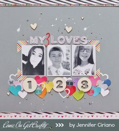 #papercraft #scrapbook #layout  My 3 Loves  by Jenns Doodles at @Studio_Calico