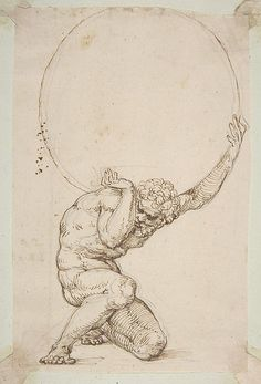 Crouching Figure of Atlas, Baldassare Tommaso Peruzzi, Pen and brown ink, over leadpoint or black chalk: 8-1/8 x 5-1/4 in.
