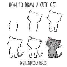 I'll Be Sharing Animal Sketch Ideas That Are Easy To ~ - Katzen Cute Cat Drawing Easy, Easy Drawing Tutorial, Cute Easy Drawings, Cute Cat Gif, Drawing Tutorials, Simple Animal Drawings, Cute Cat Names, Beginner Sketches, Beginner Drawing