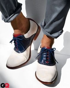 White and Navy Leather Saddled Oxfords, Men's Spring Summer Fashion.