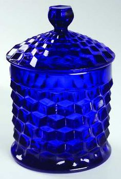 """Cobalt Fostoria """"American"""" biscuit barrel (having never seen a piece in cobalt, a kind pinner informs me that LE Smith bought the molds and produced pieces in the early Antique Bottles, Vintage Perfume Bottles, Antique Glass, Vintage Glassware, Fostoria Glass, Fenton Glass, Azul Anil, Fostoria American, Glas Art"""