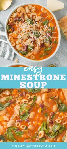 Easy Minestrone Soup is the perfect cozy, healthy dinner! Vegetarian, gluten free, and vegan - it's delicious and done in under 30 minutes! Make it in your crockpot, instant pot or on the stove - this simple, quick soup is one you'll absolutely love! Way better than Olive Garden. Keep it vegan or make it with meat by adding ground beef, sausage or turkey! Easy Clean Eating Recipes, Healthy Soup Recipes, Lunch Recipes, Heart Healthy Soup, Healthy Eating, Ww Recipes, Chili Recipes, Fall Recipes, Crockpot Recipes