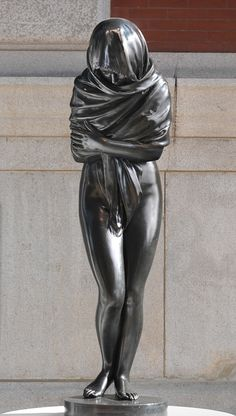 Jean Antoine Houdon (French, 1741–1828). Winter, 1787. The Metropolitan Museum of Art, New York. Bequest of Kate Trubee Daison, 1962 (62.55)   Striving to preserve her body heat, a young woman huddles beneath her inadequate shawl with arms folded across her chest and legs drawn together. Learn more about this sculpture in audio clips and a video. #MetViewpoints (Source: MET Museum)