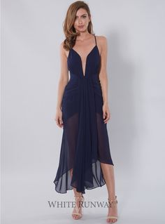 Orpheus Waterfall Dress. A gorgeous waterfall cocktail dress by Shona Joy. Featuring a fully lined and boned bodice, plunged neckline, lined mini and sheer draped hem.