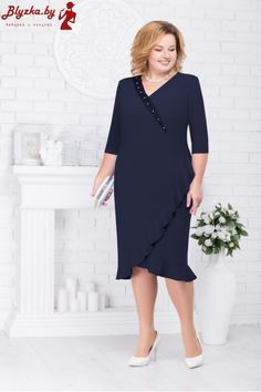 Big Dresses, Knee Length Dresses, Casual Dresses, Dresses With Sleeves, Plus Size Cocktail Dresses, Plus Size Dresses, Frock For Women, Office Outfits Women, Modest Fashion