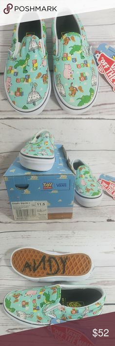 Kids TOY STORY VANS Slip On Sneakers 11 1/2 OMG! These cannot get any cuter. These are VANS.  Toy Story theme. Mint green slip ons. They even say ANDY on the bottom of one shoe like it says on Woody's boot! Unisex Childrens Size 11 1/2 Vans Shoes Sneakers