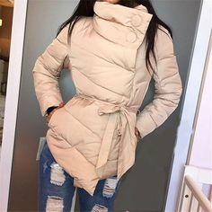 2017 New Winter Jacket Slim Black Oblique Placket Parka Women Triangle Hem Strappy Cool Long Sleeve Cotton Down Basic Outerwear