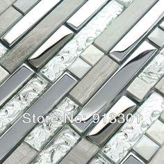 Interlocking Mosaic Tiles Stone Stainless Steel & Glass Blend Kitchen Backsplash Tile Crystal Coating Marble Tile Wall Stackers