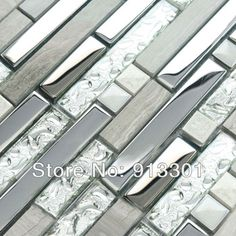 Interlocking Mosaic Tiles Stone Stainless Steel & Glass Blend Kitchen Backsplash Tile Crystal Coating Marble Tile Wall Stackers