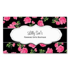 Black & Pink Roses Flowery Business Cards