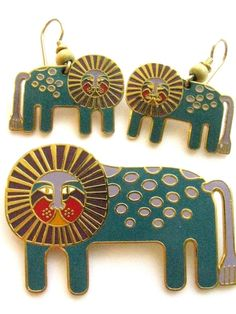 "RARE 80's Laurel Burch ""Leonardo"" Brooch and Earrings Set~RETIRED HARD TO FIND! #LaurelBurch"