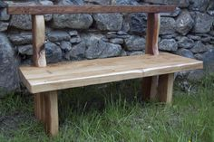 Solid oak garden bench designed to live next to a little stream in Pembrokeshire but would look equally nice in any setting.