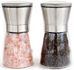 Elegant Stainless Steel Salt and Pepper Grinder Set - Salt & Pepper Mill Pair - Glass Body Salt and Pepper Shakers