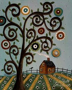 Folk Art Abstract Painting - Tuesday 1 by Karla Gerard