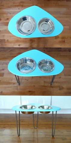 Looking for a mid-century mod inspired DIY raised dog bowl stand? Build this mod dog bowl stand in an afternoon and customize the height and color. Diy Art Projects Canvas, Diy Projects For Men, Cute Dog Toys, Raised Dog Bowls, Dog Bowl Stand, Tea Cup Poodle, Dog Feeder, Pet Bowls, Baby Feeding