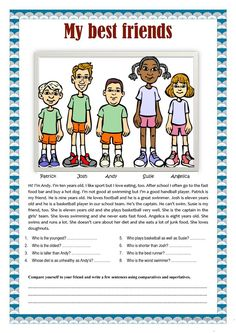 My best friends comparatives and superlatives - English ESL Worksheets for distance learning and physical classrooms Learning English For Kids, English Lessons For Kids, English Language Learning, Teaching English, Learn English, French Lessons, German Language, Spanish Lessons, Japanese Language