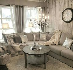 Rustic glam living room decor ideas monochromatic interior design home on glamour thank you for the Shabby Chic Living Room, Cozy Living Rooms, Home Living Room, Living Room Designs, Curtain Ideas For Living Room, Shabby Chic Lounge, Shabby Chic Couch, Living Room Inspiration, Home Decor Inspiration
