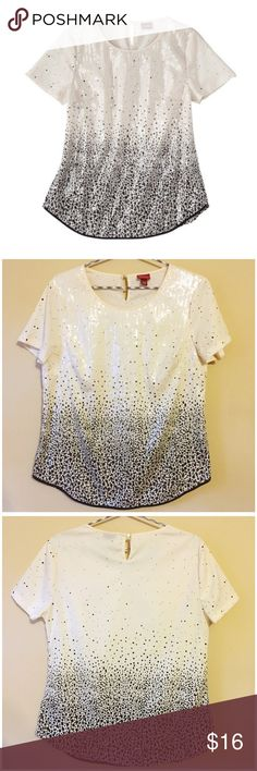 "NWOT Merona Polka Dot Sequin Blouse --- Medium NWOT Merona Polka Dot Sequin Blouse --- Medium --- 19.5"" bust --- 24"" length --- this cream blouse has a black polka dot patterned that becomes more saturated as you move down the garment --- the front of the blouse is completed covered in sewn on clear sequins --- black trim --- keyhole closure at back neck --- the from of the blouse is lined, so you don't have to worry about the sequin threading irritating your skin --- thank you for visiting…"
