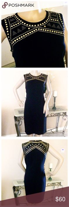 Carmen Marc Valvo Studded Sheath Dress NWT sleeveless dress in midnight navy (looks black) beautiful gold studded detail on the front and back. Rayon/Nylon/Spandex. Carmen Marc Valvo Dresses Midi