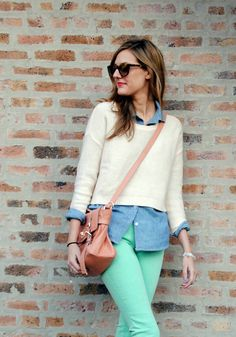 mint skinnys, chambray shirt under a pastel lemon-meringue sweater, crossbody and shades