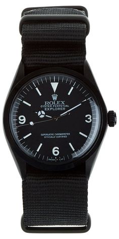 Refurbished vintage Rolex expedition watch in matte black. 904L stainless steel base with Physical Vapor Deposition (PVD) matte black carbon coating.  http://zocko.it/LEUCd