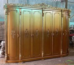 #French #Mahogany #Wardrobe with #Carving in Gold Color Nurjanna by #NusaTeak  PIN: 7658A033 Call WA: 6281908021000 Inquiry: info@nusateak.com Site: NusaTeak.com  #Mebel #Furniture #Meuble #Home #Decor #Interior #FrenchWardrobe #HomeDecor #FrenchStyle #HomeInterior #MahoganyBed #CarvedWardrobe #MahoganyWardrobe #FurnitureDesign #InteriorDesign #Design #Indonesia #Etsy #BedroomFurniture