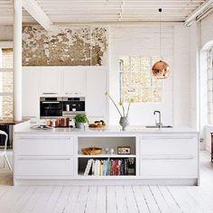 white timber floors + exposed brick