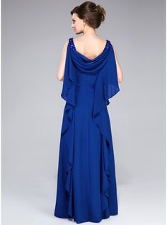 A-Line/Princess Cowl Neck Floor-Length Chiffon Mother of the Bride Dress With Beading Sequins Cascading Ruffles - Mother of the Bride Dresses - DressFirst Navy Prom Dresses, Mob Dresses, Bride Dresses, Party Dresses, Wedding Dresses, Abaya Style, Couture Dresses, Fashion Dresses, Robes D'occasion