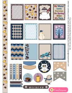 Free Printable Winter Sticker Sampler Kit for Erin Condren Life Planner ECLP