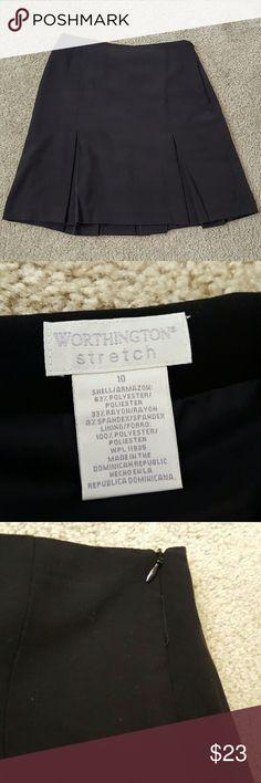 Worthinhton black, pleated skirt Gently used, black, nice fabric on the inside, zips on the side, size 10 Worthington Skirts