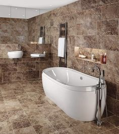 Classic marble effect full tiled bathroom, elegant and contemporary feel