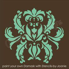 "damansk wall stencils | Stencil 10"" Damask Vintage Floral Faux Mural Wall Art | eBay"