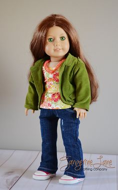 American Girl Doll Clothes - Green jacket, floral peplum top, distressed jeans, necklace. $39.00, via Etsy.