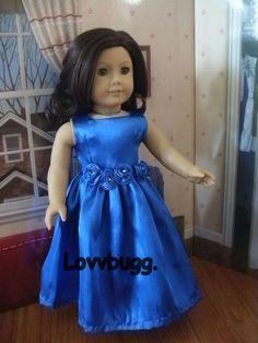 Satin & Roses Evening Gown Blue for 18 inch American Girl Doll Selection! Flower Girl Dresses, Prom Dresses, Summer Dresses, Formal Dresses, Wedding Dresses, American Girl Diy, Sewing Doll Clothes, Gowns For Girls, Satin Roses