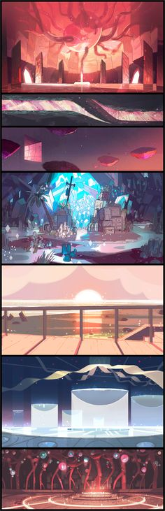 """A selection of backgrounds from the Steven Universe episode: """"Together Breakfast"""". Direction: Kevin Dart; Design: Sam Bosma, Emily Walus; Paint: Jasmin Lai, Elle Michalka."""