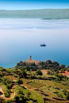 View of Bol  on the island of Brač and its vineyards looking towards Hvar island, Croatia