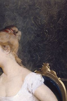 Portrait of a Young Lady by Amos Cassioli (detail), 1880.