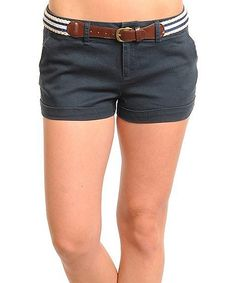 Look at this #zulilyfind! Navy Belted Shorts by Buy in America #zulilyfinds